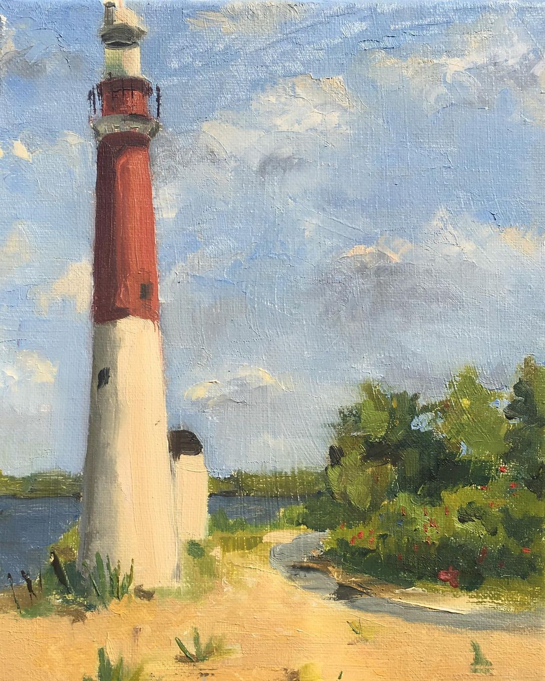 LBI Holiday Shopping $325  Barnegat Lighthouse,  Oil on Linen, 12″x9″  in Bio to pur…