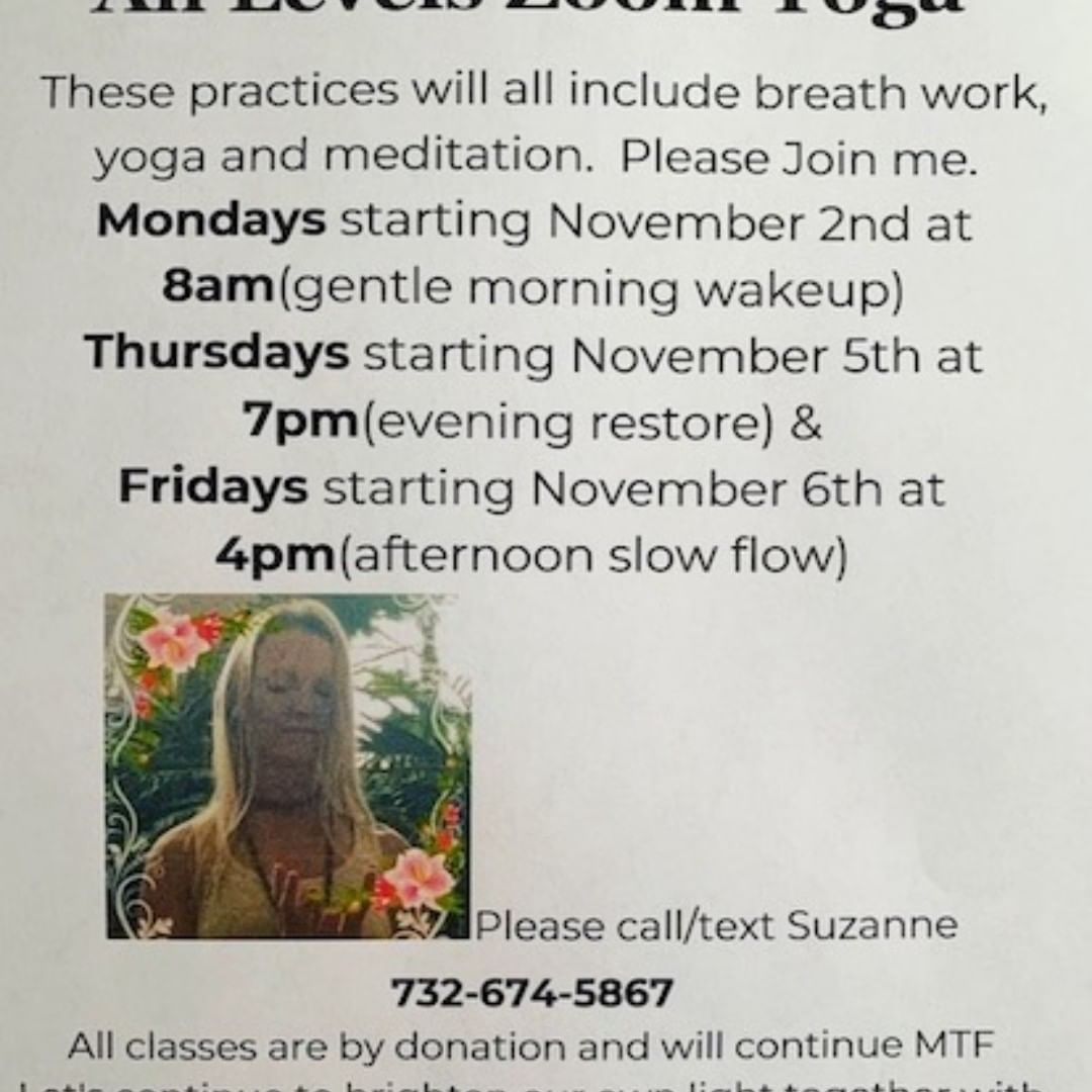 LBI STARTING 11/2 ALL LEVELS ZOOM YOGA WITH SUZANNE(exception 11/9)      …