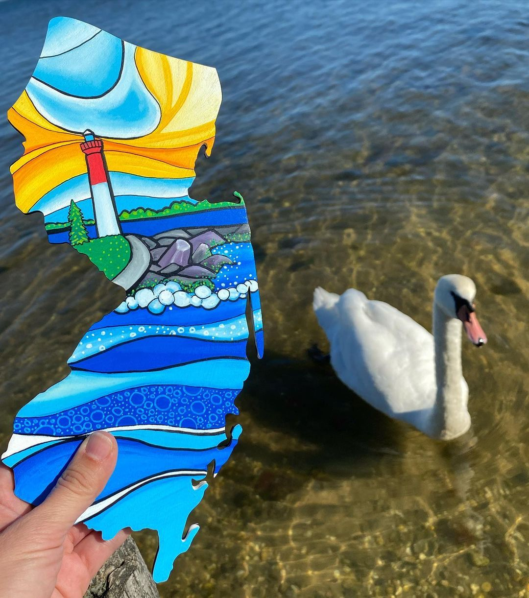 LBI  When a swan comes to photobomb your art—RUN!  Moments after taking this photo t…