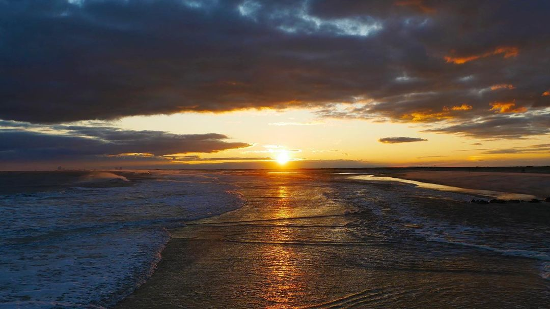 LBI a brisk, breezy, beautiful sunset at the end of the island—hello December!      …