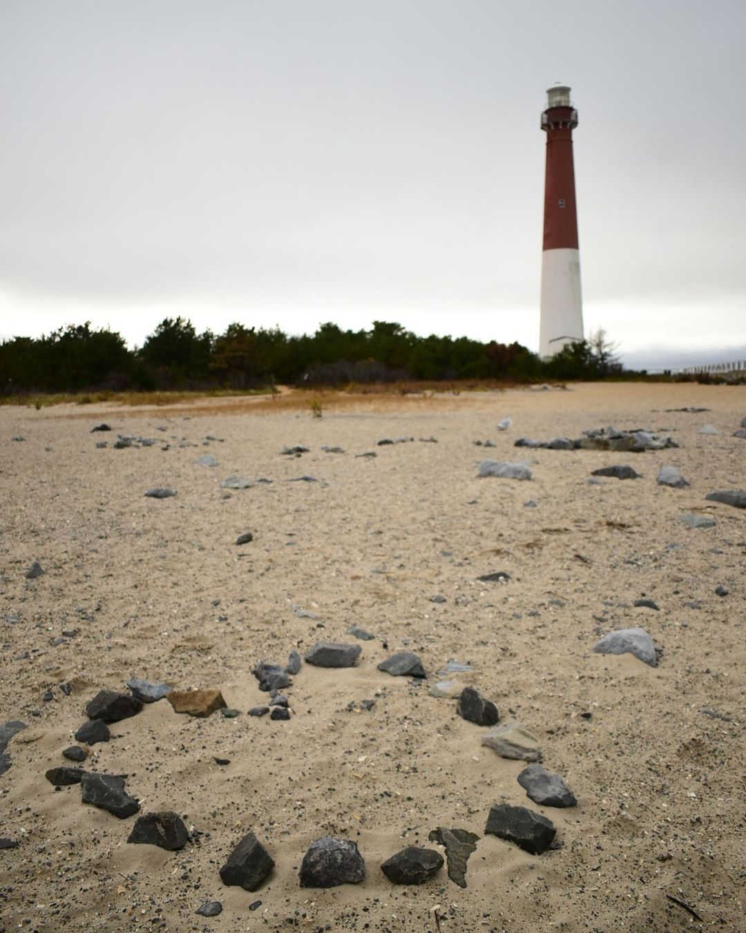 LBI  shaped rocks at Barnegat Lighthouse                    …